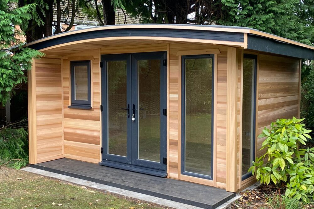 Modern insulated Garden Room with Curved Roof