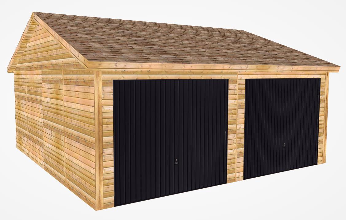 Design of wooden double garage with black doors
