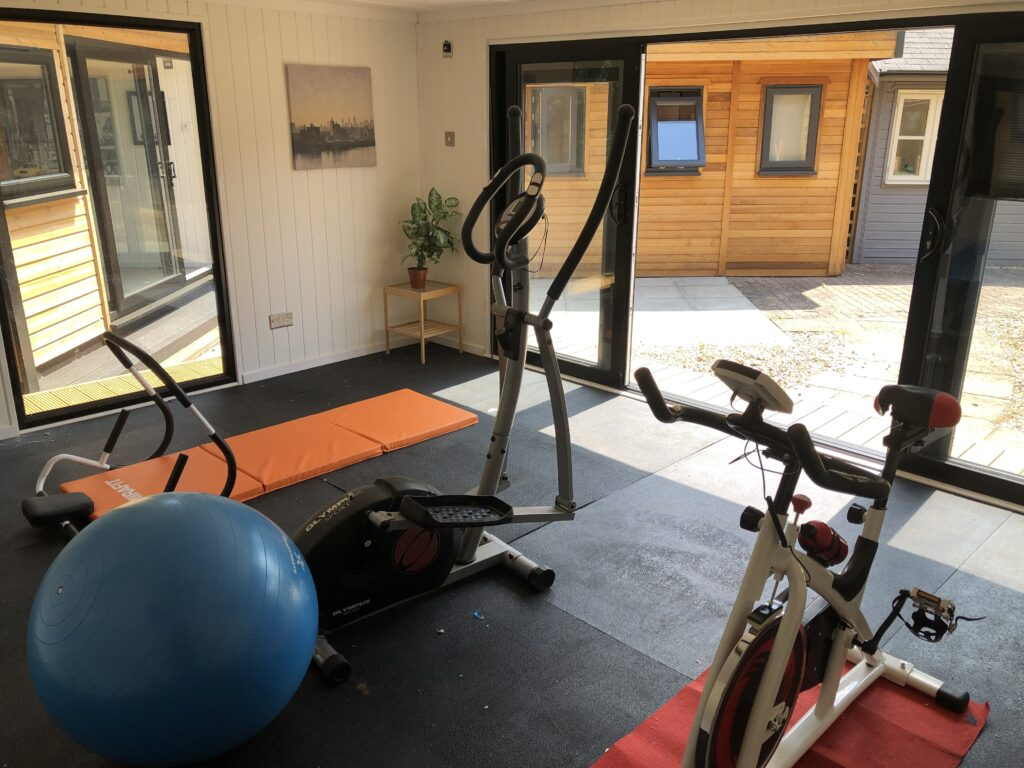 Contemporary garden gym with fitness equipment