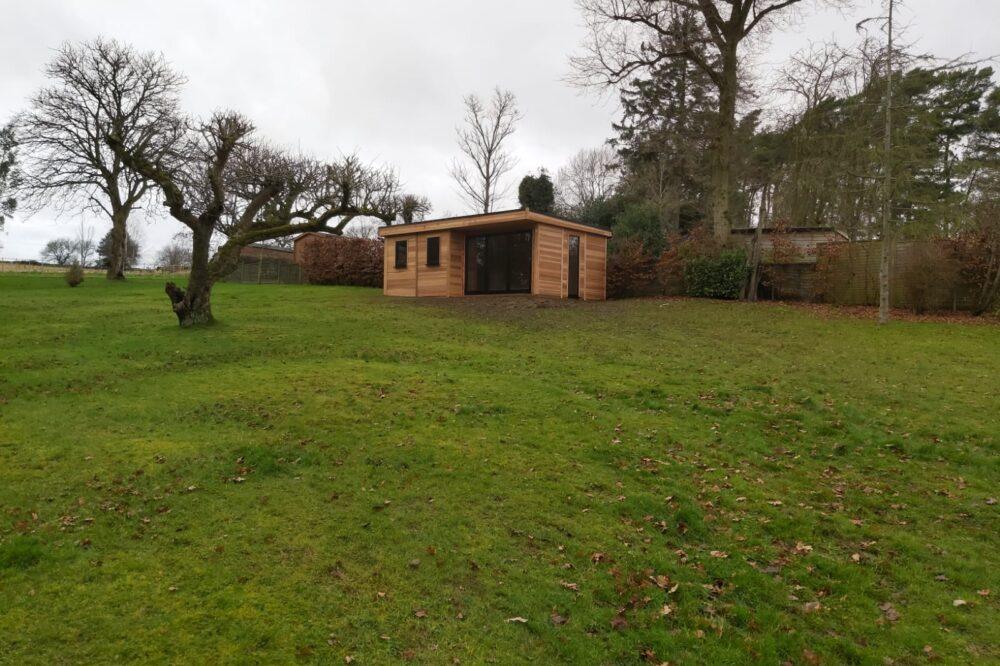 Modern garden pod in field