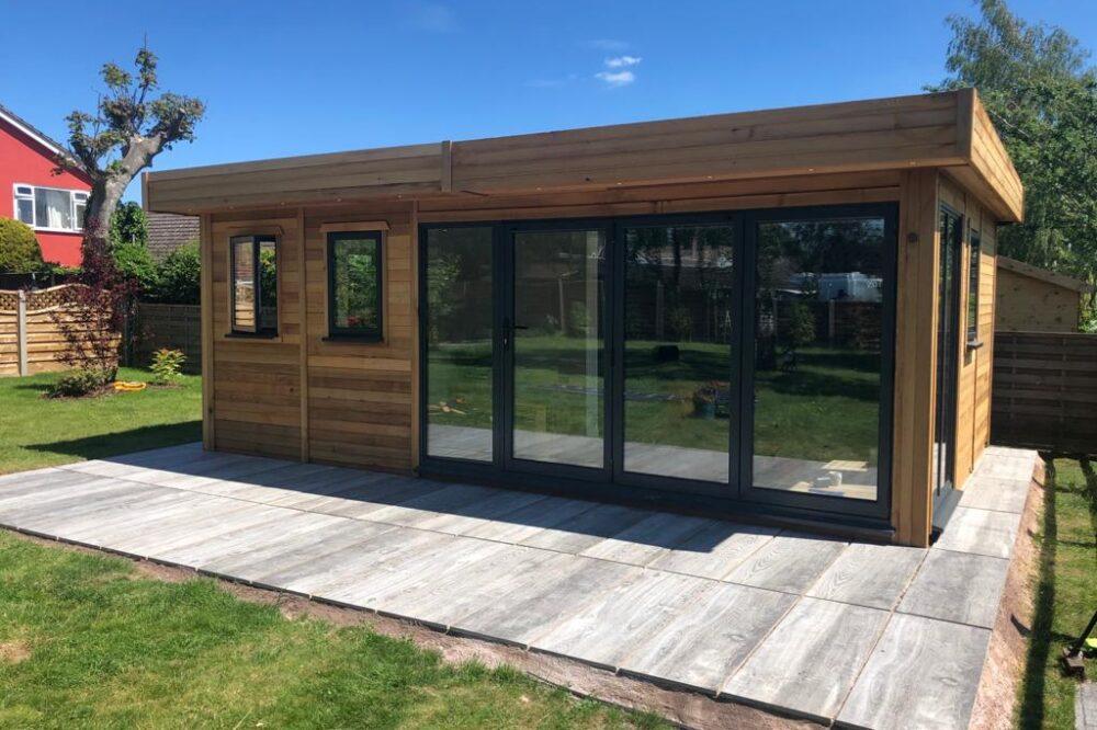 contemporary wooden garden room