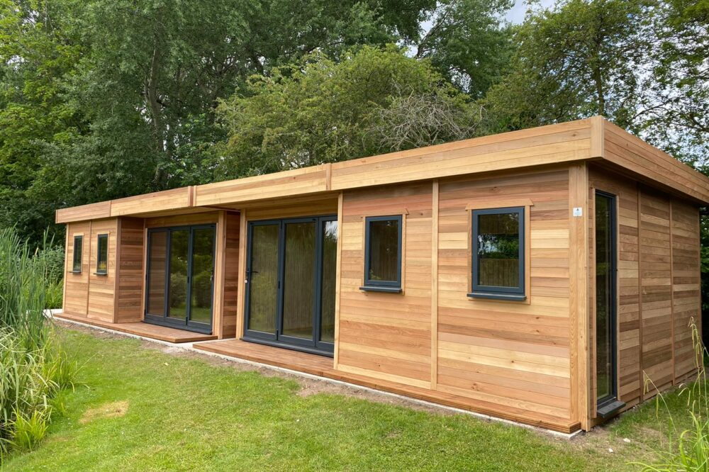 Two Modern Garden Offices sat next to each other