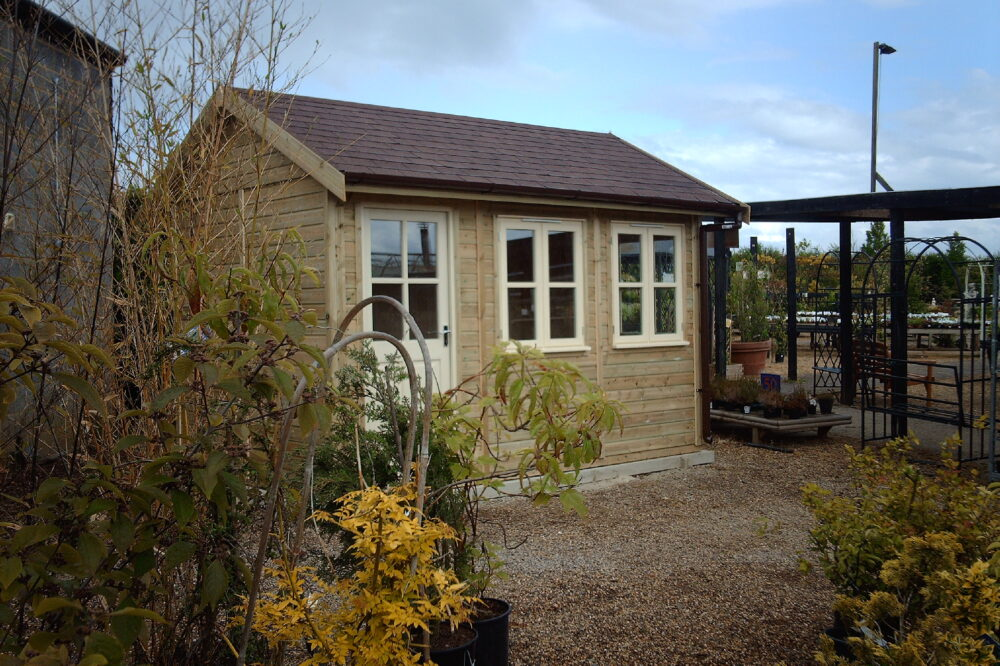 traditional garden room with a slanted roof