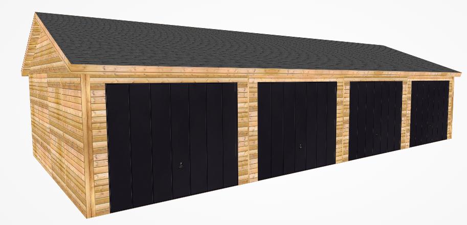 Design of black quad garage