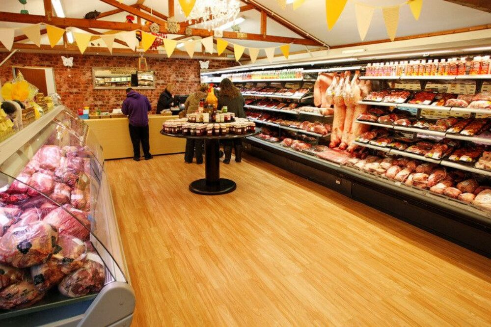 Inside shop with meat counters