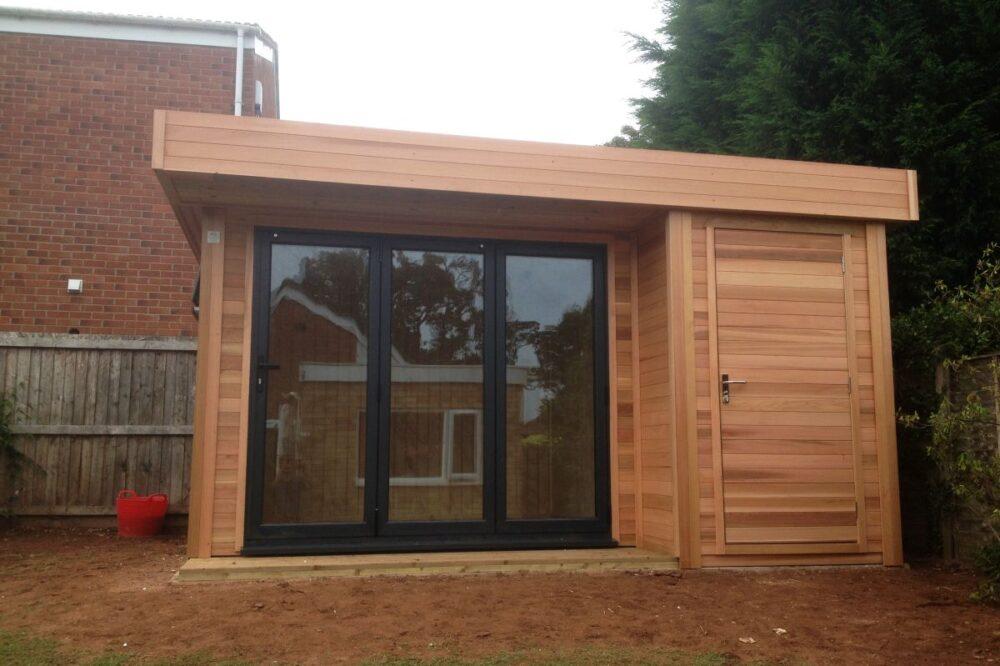 modern wooden garden building