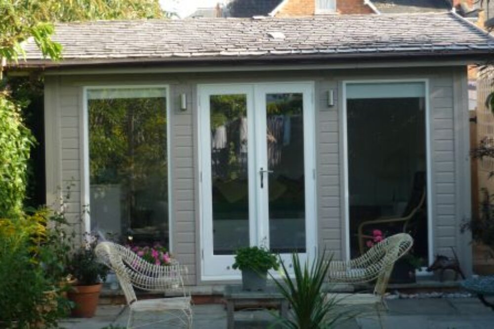 garden studio with tiled roofing