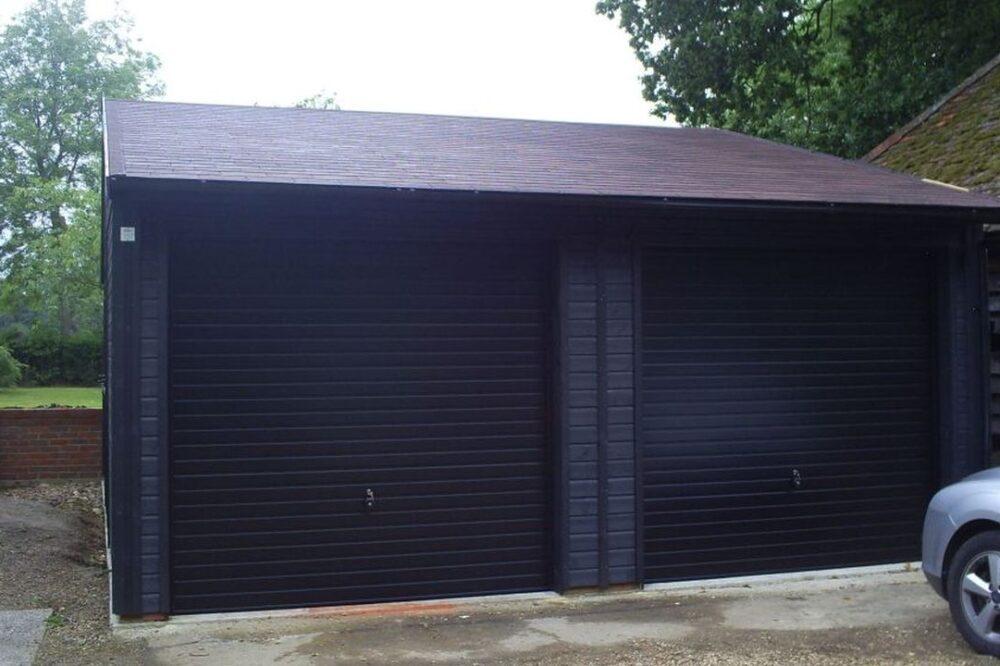 Black double garage