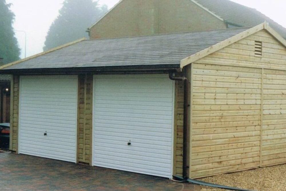 double door wooden garage