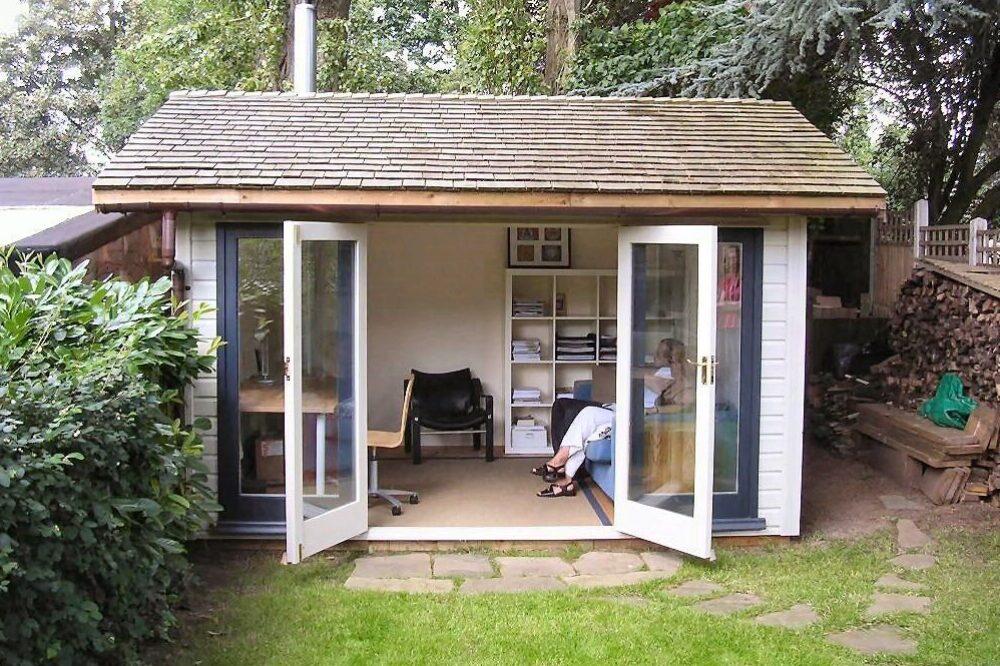 Opened doors of garden studio