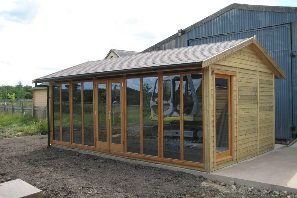 Fully glazed pitched roof office