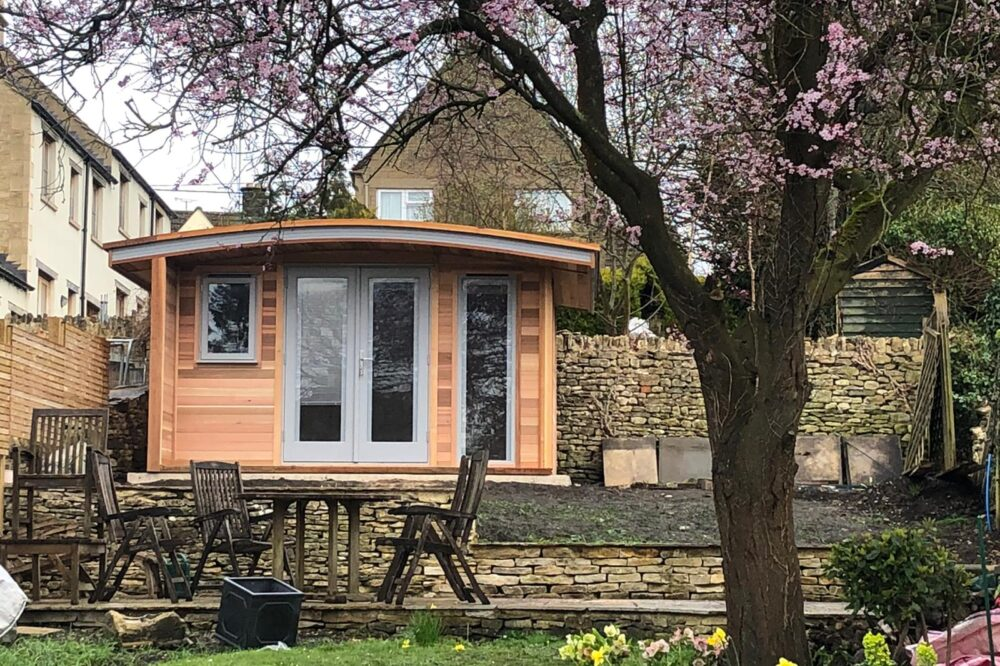 garden office with curved roofing design