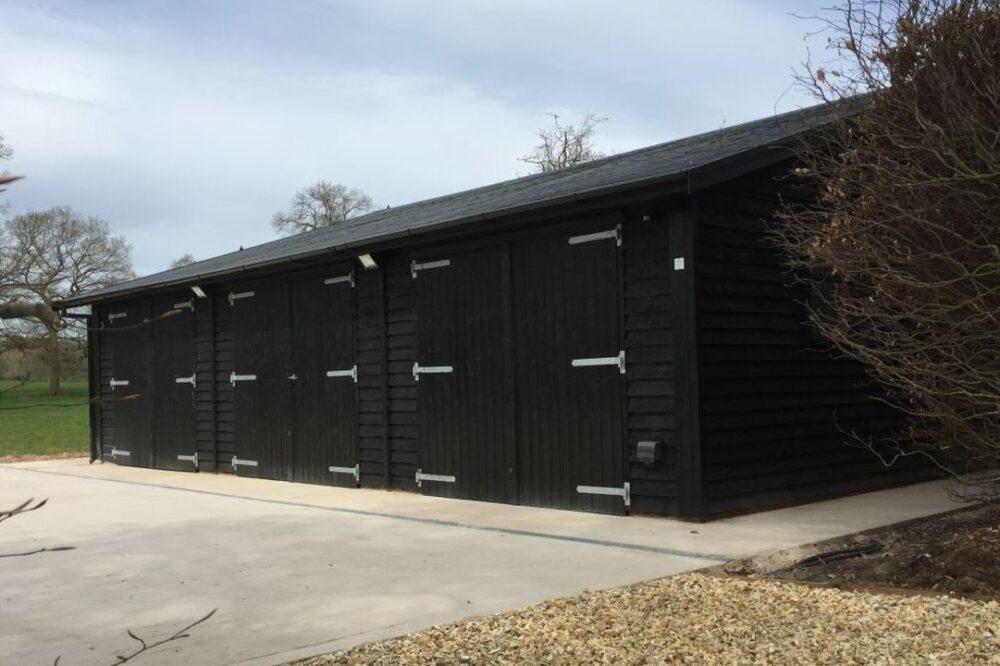 Black triple garage