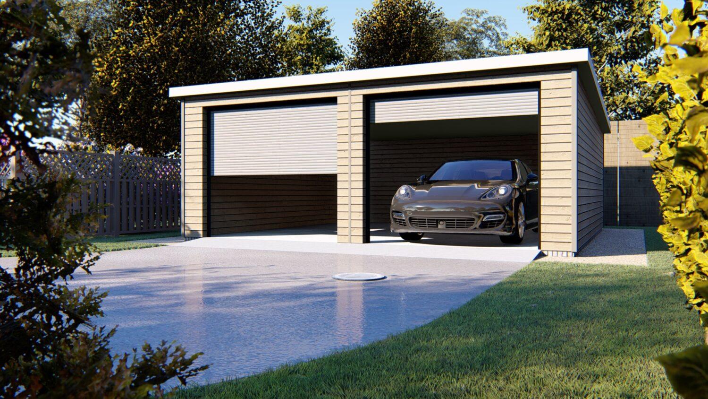 Open doors of double garage with black car