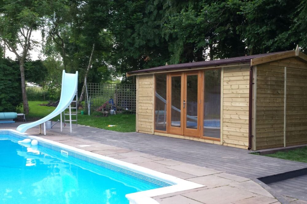 Garden wooden studio with swimming pool and slide